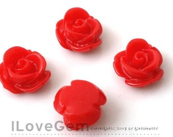 RC059 Resin (Red) Rose Flower 13mm Cabochon, 8pcs
