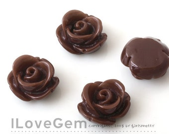 RC059 Resin (Chocolate) Rose Flower 13mm Cabochon, 8pcs