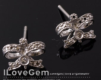 NP-1168 Nickel free Rhodium-plated, Small Ribbon Earring, 925 sterling silver post, 2pcs