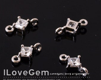 NP-1172 Rhodium-plated, mini diamond CZ, connectors, 4pcs