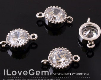 NP-1173-06 Rhodium-plated, 6mm Cubic, Wedding jewelry, connectors, 4pcs