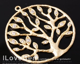 NP-1175 Matt Gold plated, Tree, Pendant, 1pc