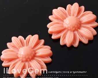 RC207 Resin, Coral, Camomile, 21mm, Cabochon, 8pcs
