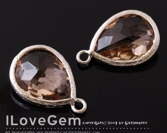 SALE/ 10pcs / P2760 Rhodium plated, Peach, Champagne, Framed Glass drop, Framed faceted glass stone, Glass pendant, 12X17mm