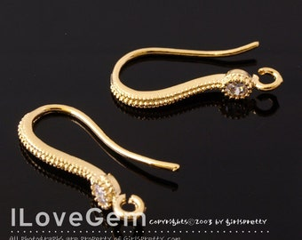 SALE / 20pcs / NP-1204 Gold plated over Brass, Single CZ, Earwire / Wedding Earrings, Bridesmaid earhooks, Bridal jewelry