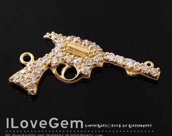 NP-1208 Gold plated, Handgun pendant, Sold individually