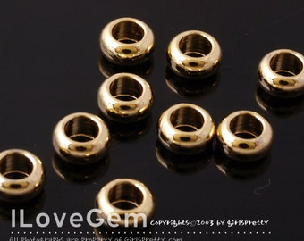NP-1228 Gold plated, Smooth rondelle, 7mm, 8pcs