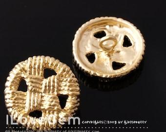 NP-1240 Matt Gold plated over Pewter, Button pendant for Bracelet, 4pcs