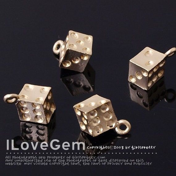 Pewter, Matt Gold plated, Dice charm, 4pcs
