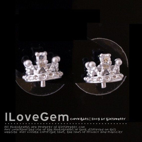 NP-825 Matt.Rhodium-plated, Petite Tiara earring with peg, 925 sterling silver post, 4pcs