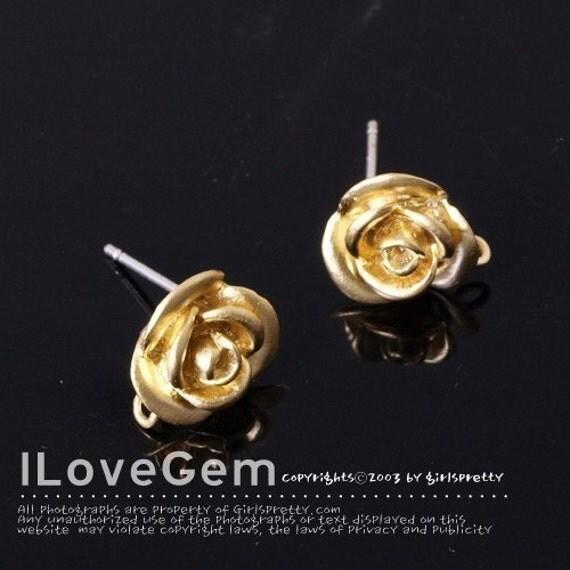 NP-1818 Matt Gold plated, Rose earring, 925 sterling silver post, 2pcs