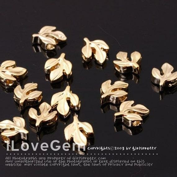 NP-140 Gold-plated, Pewter, mini leaf Beads, 8pcs