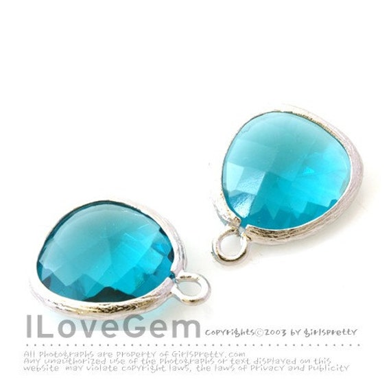 SALE/ 10pcs /  Rhodium plated, Indicolite, Glass fancy rosecut 12.5mm