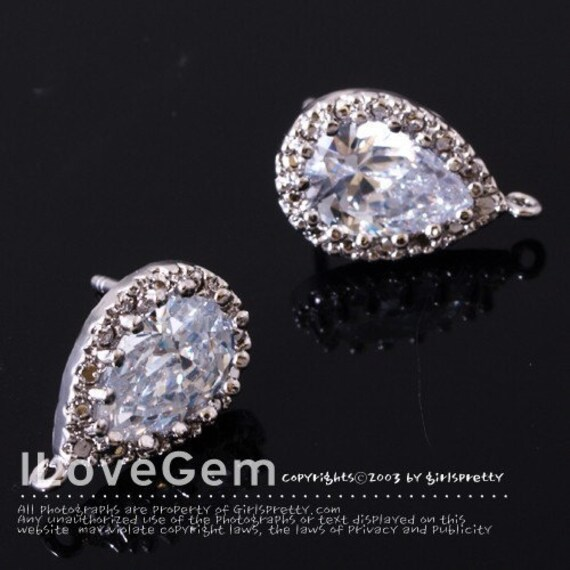 SALE / 10pcs / E157 Nickel free Rhodium-plated, Drop Cubic zirconia earring, 925 sterling silver post