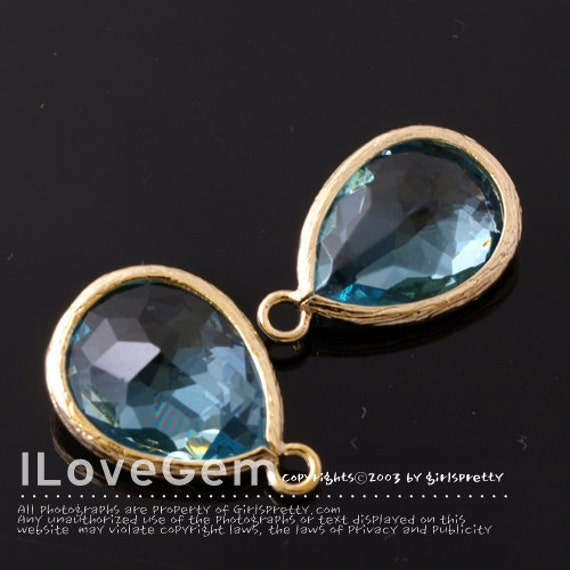 P2760 Gold plated, Aquamarine, Glass drop, 12X17mm, 2pcs