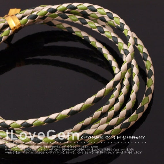 Bola cord, Imitaiton Leather, 3mm, Green Mixed Color, 4 meters