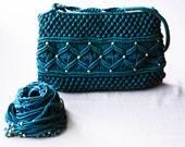 Macrame Bag and Belt Set - Teal