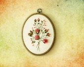 Hand Embroidery Salmon Roses Wall Hanging With Beads-Wall Art