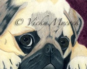 SALE 50% OFF Art Archival Open edition Pug Dog ACEO Print Feeling blue Vicky Mycock