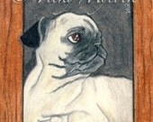 SALE 50% OFF Art Archival Open edition Pug Dog Puppy ACEO Print I've been framed Vicky Mycock