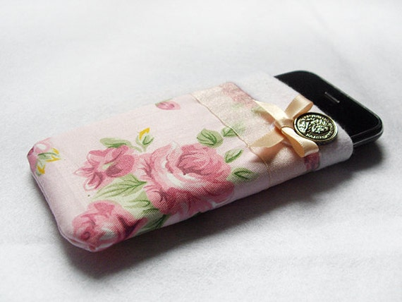 Pink Flower Phone Pouch / Case