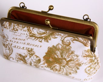 Golden print/ satin lining/ bronze frame/ evening purse/ Evening bag/ formal clutch