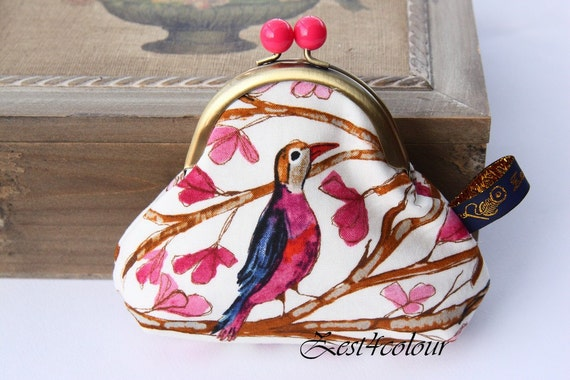 Pink bobble frame Coin purse Birds on tree branches