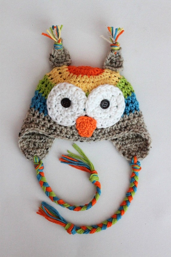 Rainbow Owl Hat