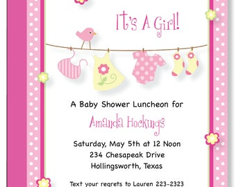 Custom Baby Clothes It's A Girl Baby Shower Invitations