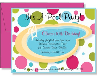 Custom Polka Dots Swimming Pool Party Birthday Party Invitations