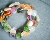 RESERVED: Vintage Bracelet - Leaf beads in pastel colors