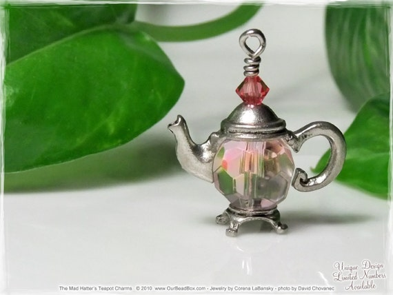 Pink Teapot Charm - Zipper Pulls, Pendant Necklace, Key Chain Charm