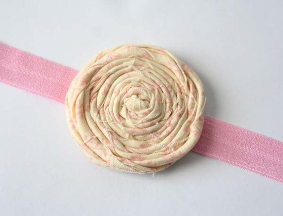 Rolled Fabirc Flower Headband - The Callie - Shabby Chic