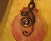 Handmade Pink Seashell Pendant w/ Ethereal Hanging Copper Wire Design. Jewelry by ElevenAndOneDesign on Etsy