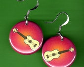 Ukulele Earrings Pink Uke Jewelry 1 inch round Jewellery
