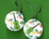Ukulele Power Flower green Uke button earrings 1 inch round with flowers ukulele jewelry flower power jewelry for musicians ukulele players