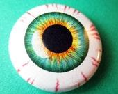 Bloodshot Eyeball Pinback Button 1 inch pin Monster Colours Bogeyman Blue