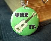 """Ukulele necklace music pendant 1 inch UKE IT 24"""" ball chain"""