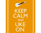"Keep Calm and Uke On Illustration 8x10"" Ukulele Wall Art Poster Print You choose colour Poster Print ukulele player gift"