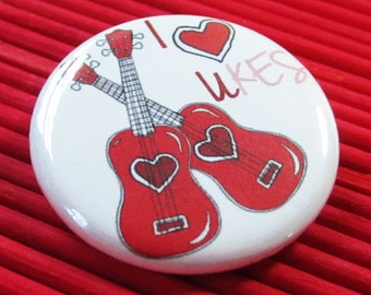 "Ukulele uke love music pinback button 1.25"" musical valentine gift for ukulele players"
