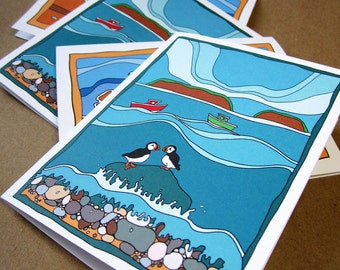 Note Cards Sandpipers on beach and Puffins four 4 Greeting Cards