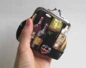 Reserved Listing for Nicholeen - Small Coin Purse in Black with Wine Bottles and Glasses