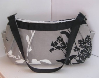 Small Pleated Shoulder Bag in Gray with White and Black Branch Blossoms