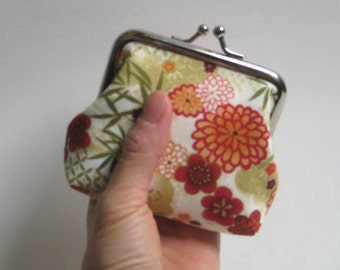 Small Coin Purse in Red, Orange, Gold Asian Florals