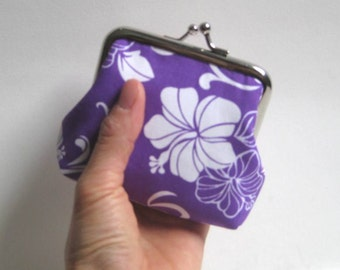 Small Coin Purse in Purple Hawaiian Hibiscus Flowers