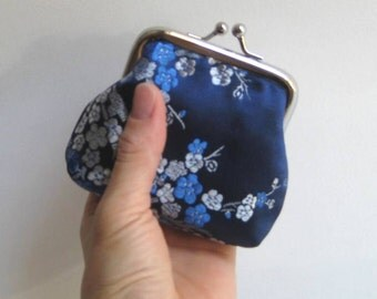 Small Coin Purse in Royal Blue Chinese Brocade