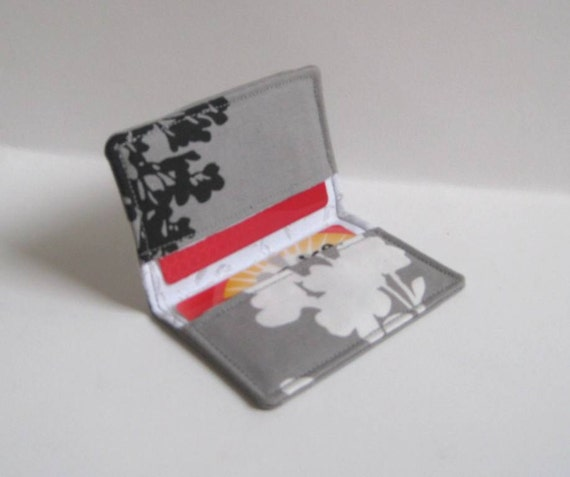 Credit Card, Business Card Holder - Gray with Black and White Leaf, Blossoms