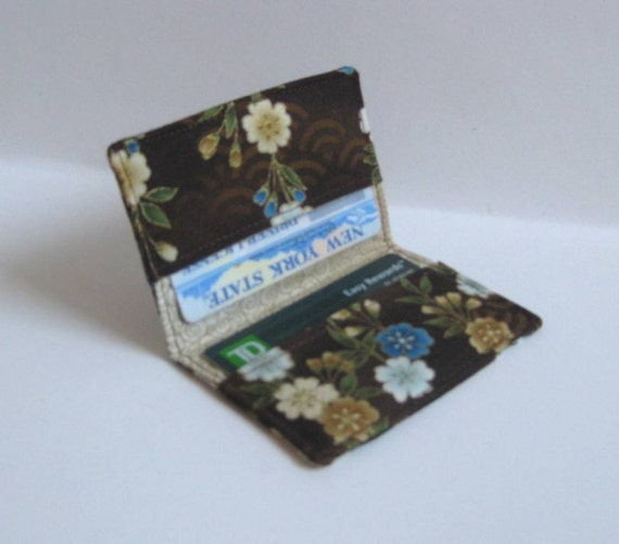 Credit Card, Business Card Holder - Brown Asian Flowers