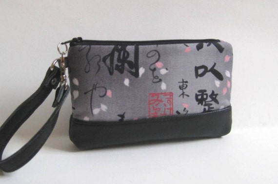 Wristlet in Gray with Japanese Writing and Black Geniune Leather Bottom and Strap