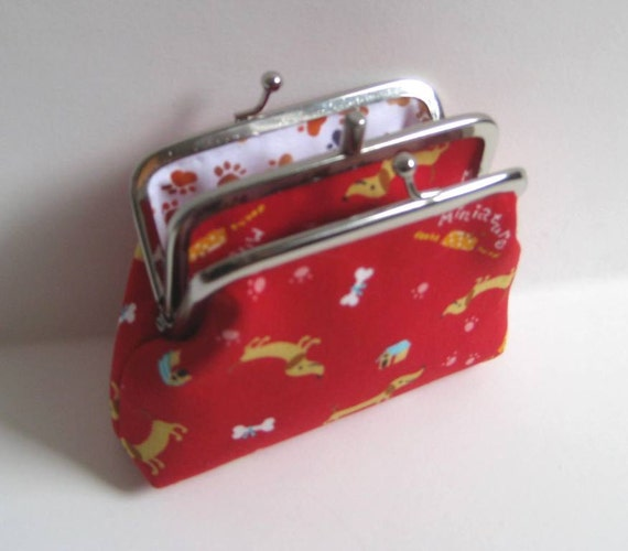 2 Compartment Coin Purse with Red Miniature Dachshunds